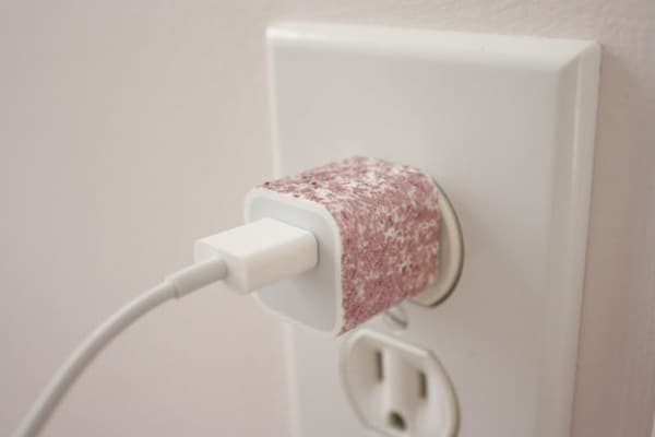 Customised charger with nail polish