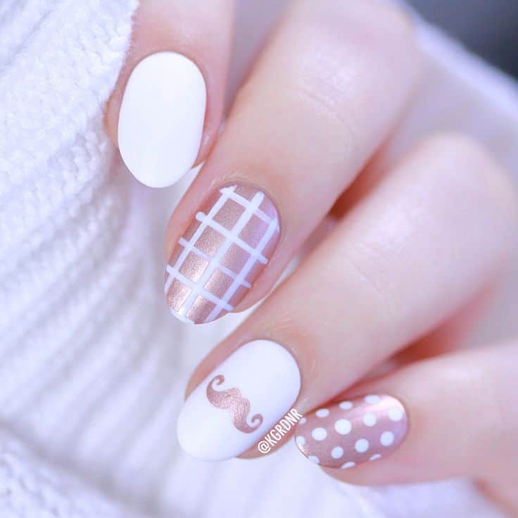 White & Rose Gold Mustache Nail
