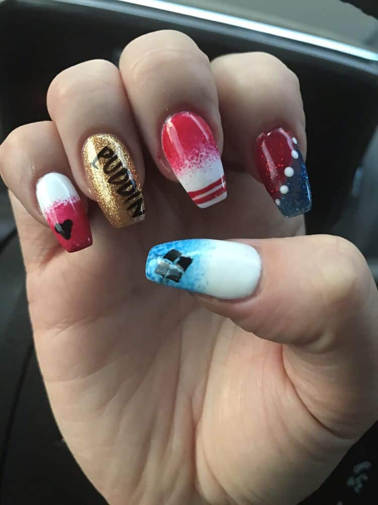 15 Freaky Harley Quinn Nail Art To Go Crazy Naildesigncode