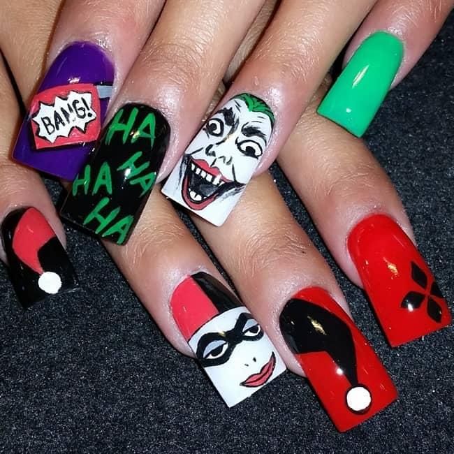 15 Freaky Harley Quinn Nail Art to Go Crazy \u2013 NailDesignCode