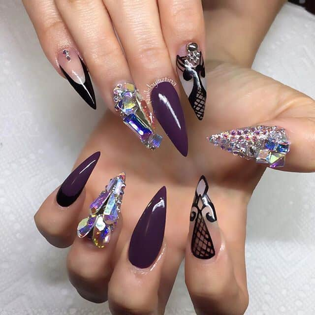 purple Swarovski nail design