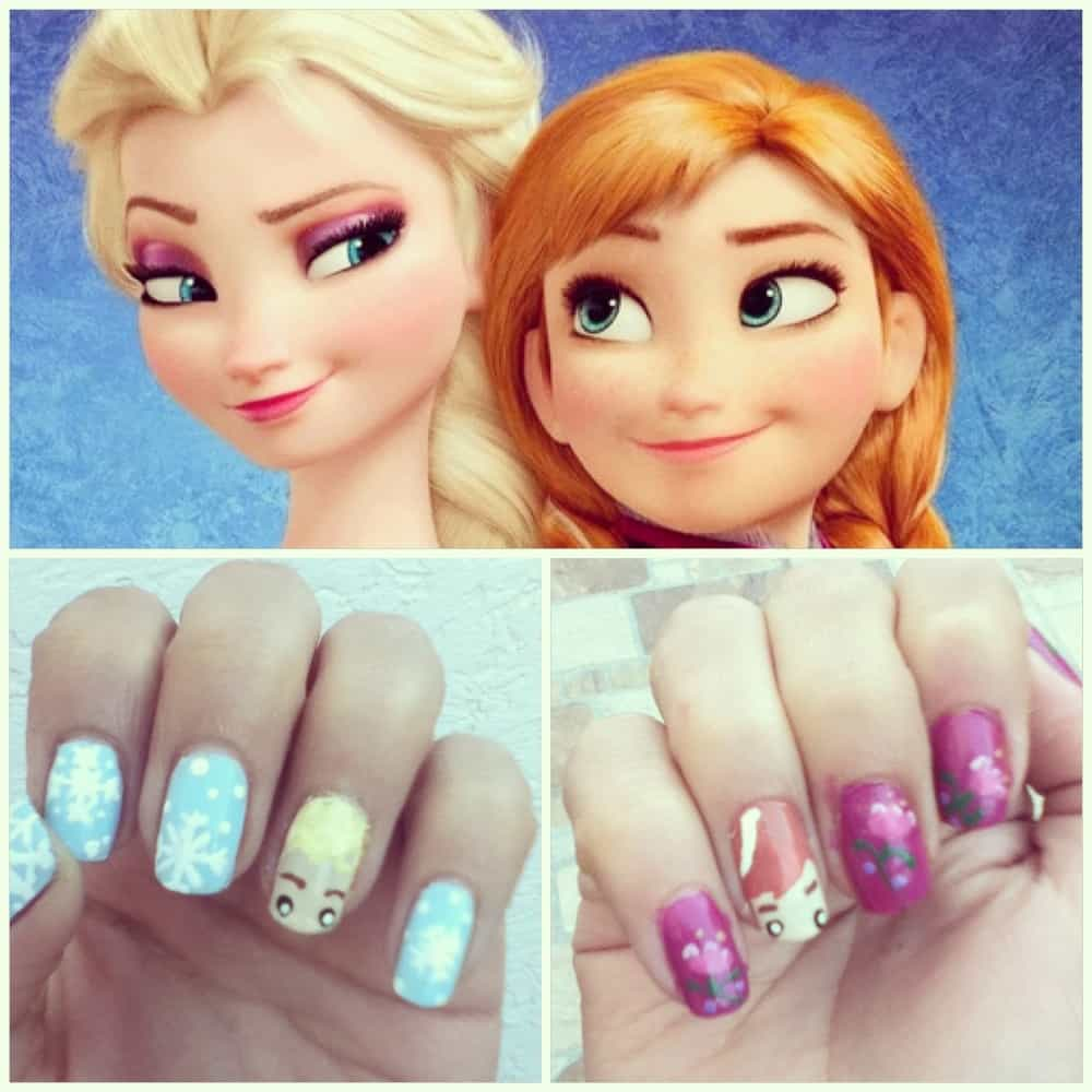 Elsa & Anna Nail Art