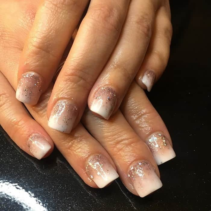 Short Square Nails with Glitter