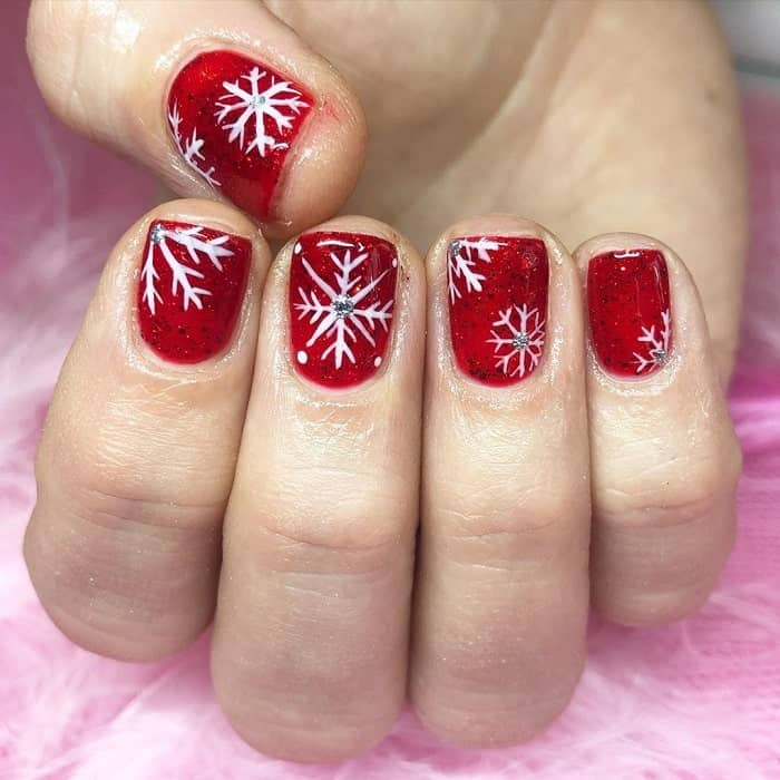 Short Square Red Nails