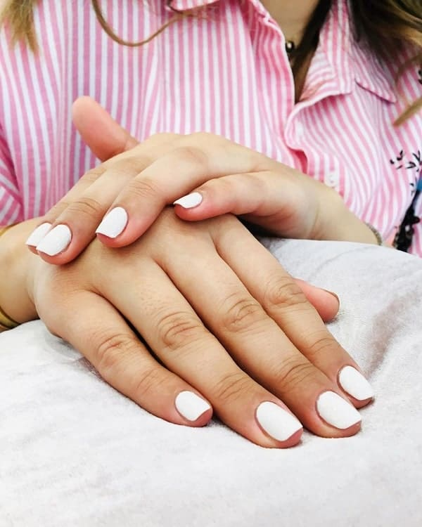 Short White Square Nails