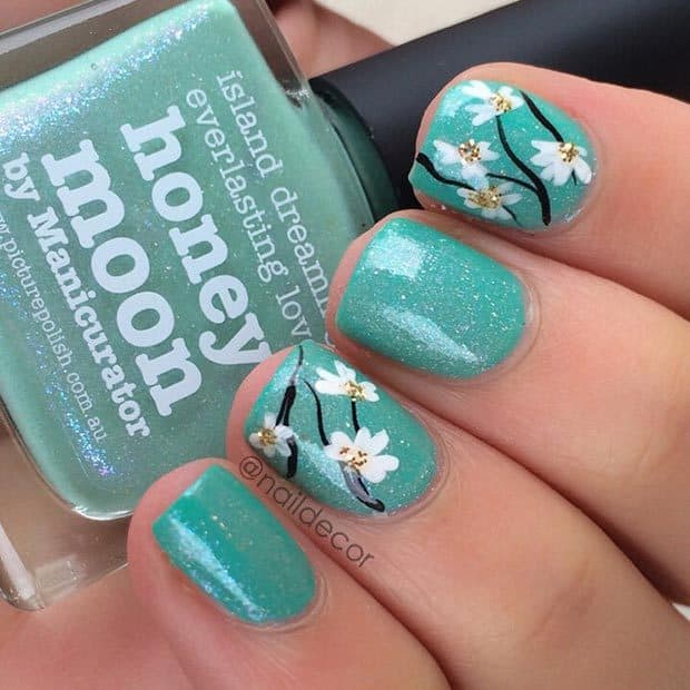 Floral Mint Green Nails