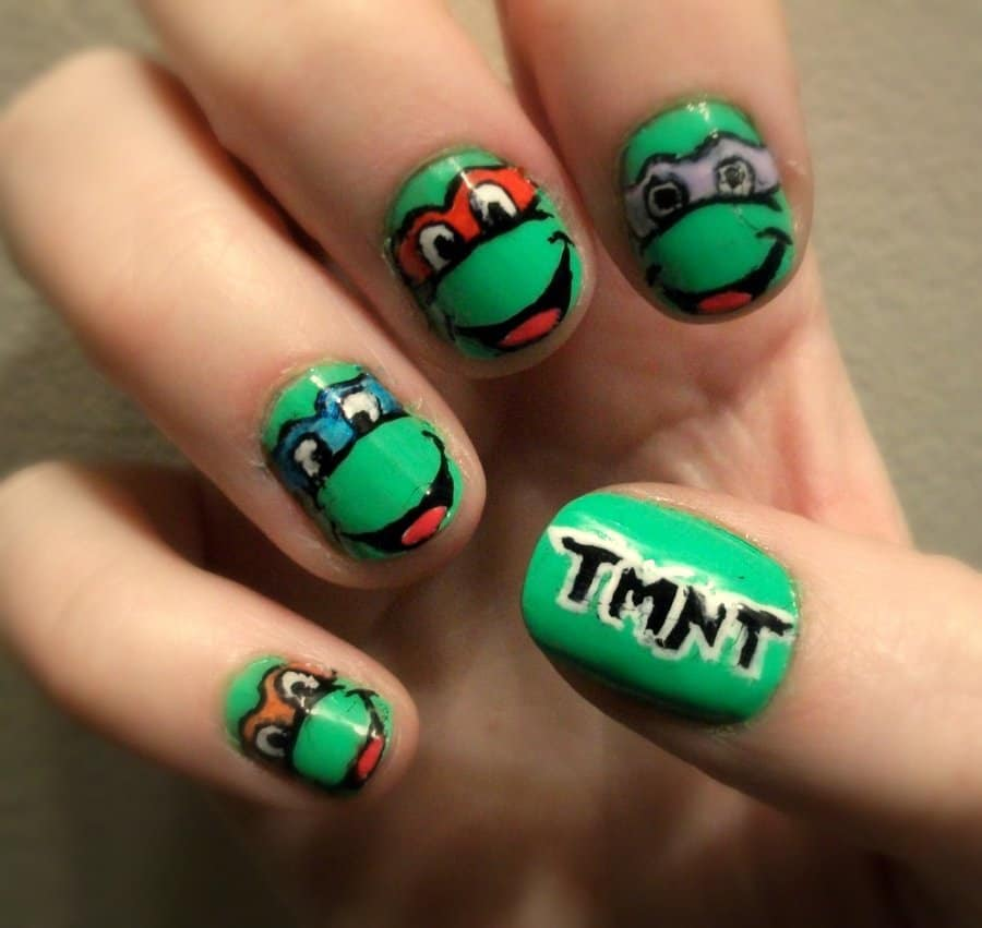 20 cutesy cartoon nail art for reminiscing childhood teenage mutant ninja turtles nail design prinsesfo Gallery