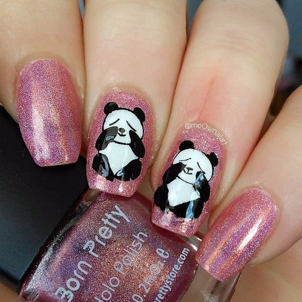 Panda nail designs 21 cutest ideas for 2018 naildesigncode pandas are usually cheerful but they may get upset too like other animals if you want to express your inner sadness by using panda nail designs prinsesfo Images