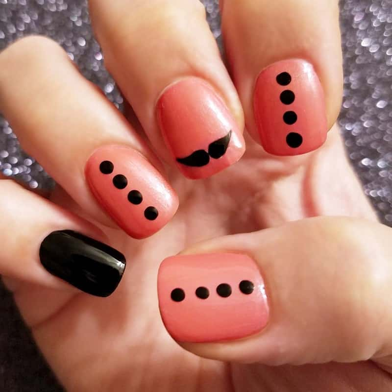 mustache gel nails