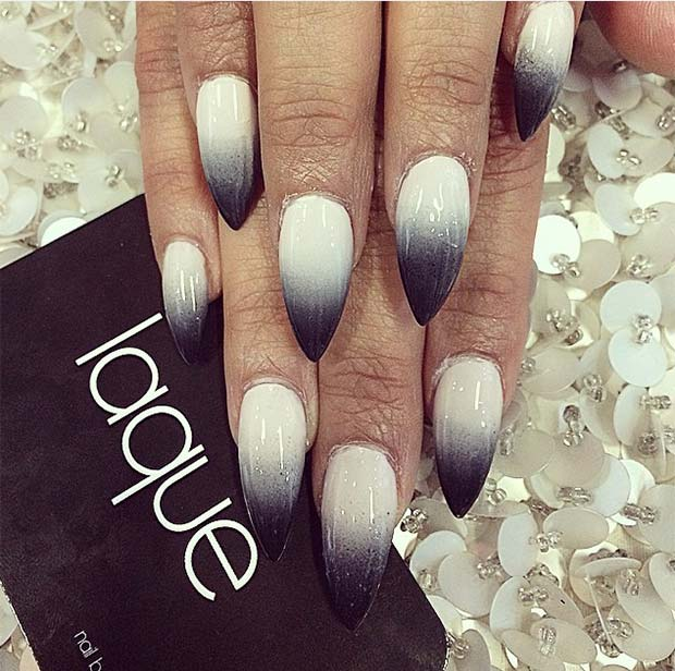 black and white ombre stiletto nail