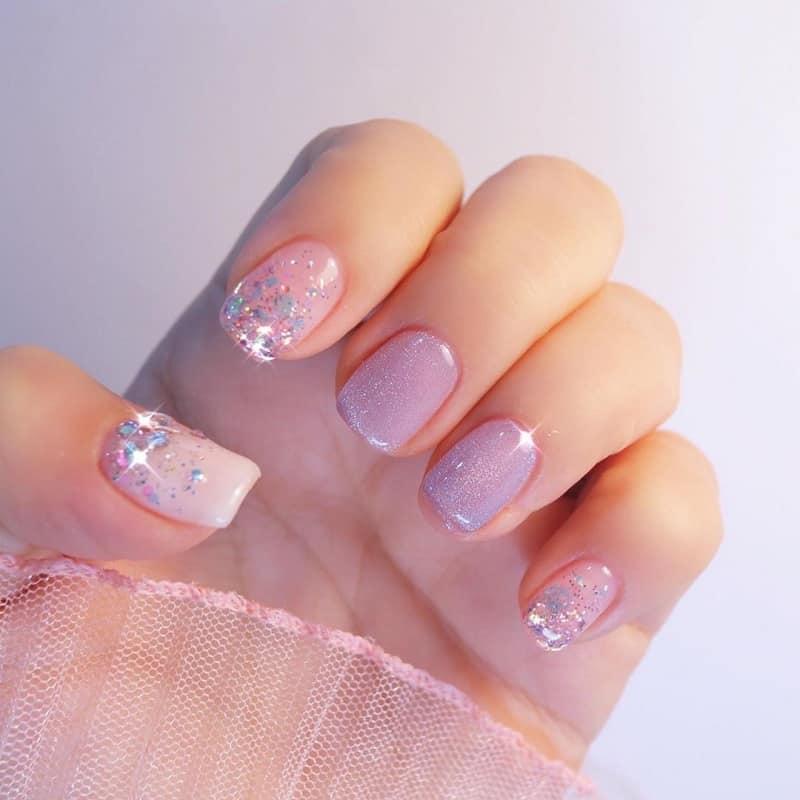 korean glitter nail