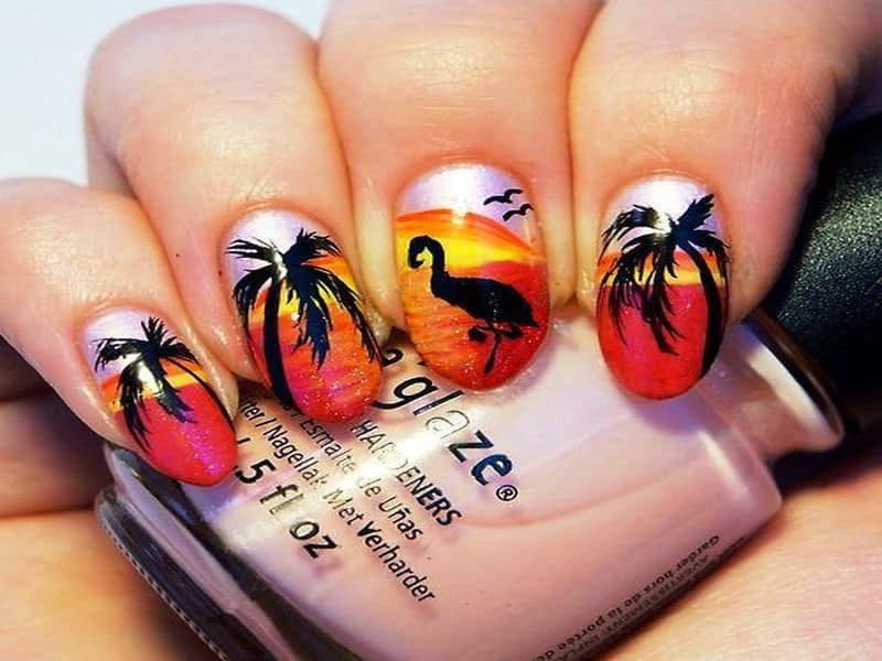 red and black palm tree nail