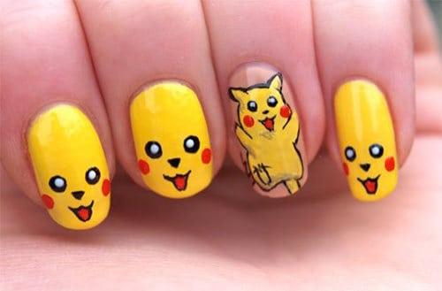 yellow pikacho nail art