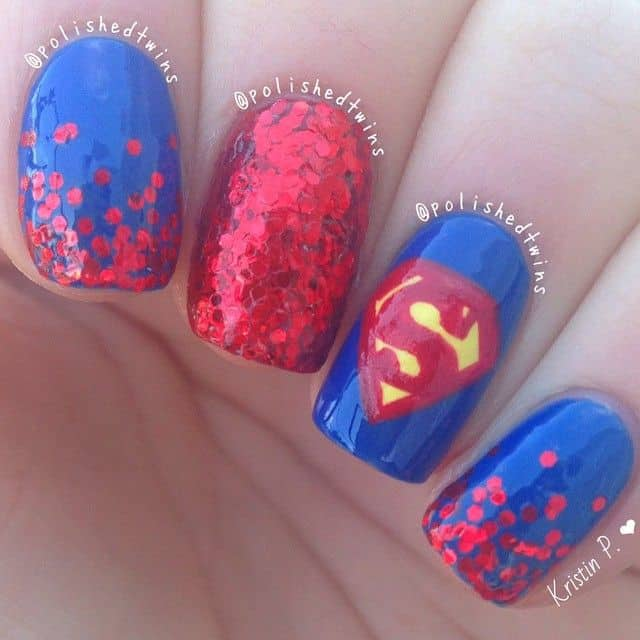 red superhero nail art