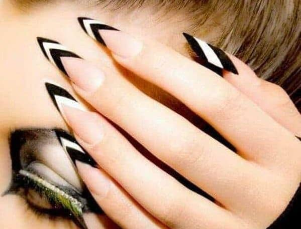 25 Black & White Stiletto Nails for 2021