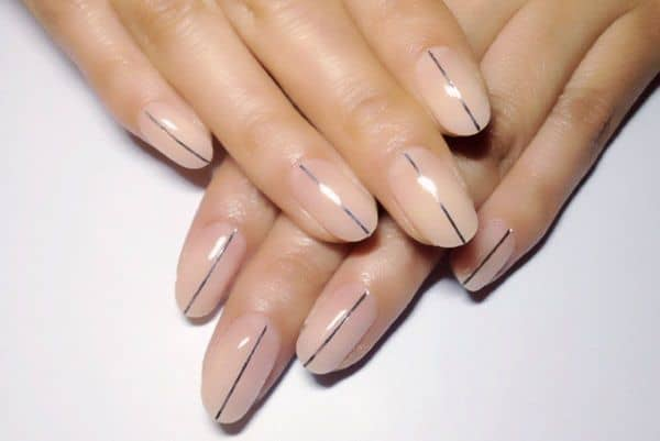 striping tape minimalist nail design