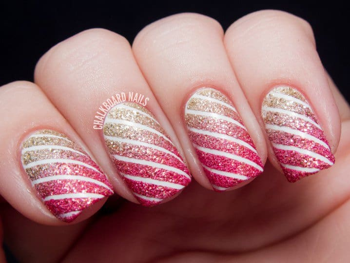 15 mesmerising striping tape nail art to make a difference you can add a heavenly charm to your nails by using nail striping tape in glitter nail designs glitter nails look more beautiful in striped designs than prinsesfo Images