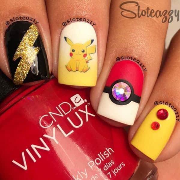 pikachu and pokeball nail art