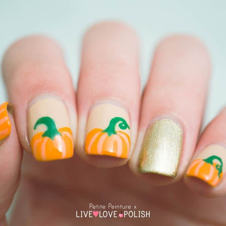 Pumpkin gold Accent Nails