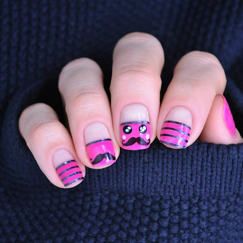 mustache nail art stickers