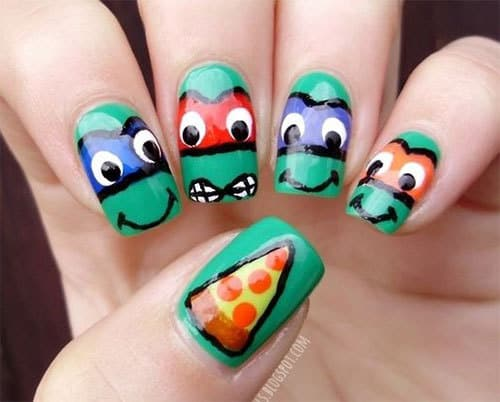 Each of the ninja turtles is a great foodie. They are crazy for pizza. You  can illustrate their cravings for pizza in your ninja turtle nails. - 10 Fabulous Ninja Turtle Nails For The Comic Fans – NailDesignCode