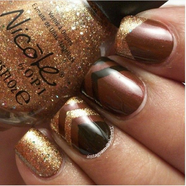 dark brown glitter nail design