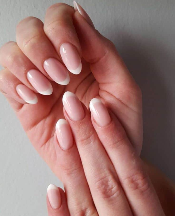 french tip oval shaped nail