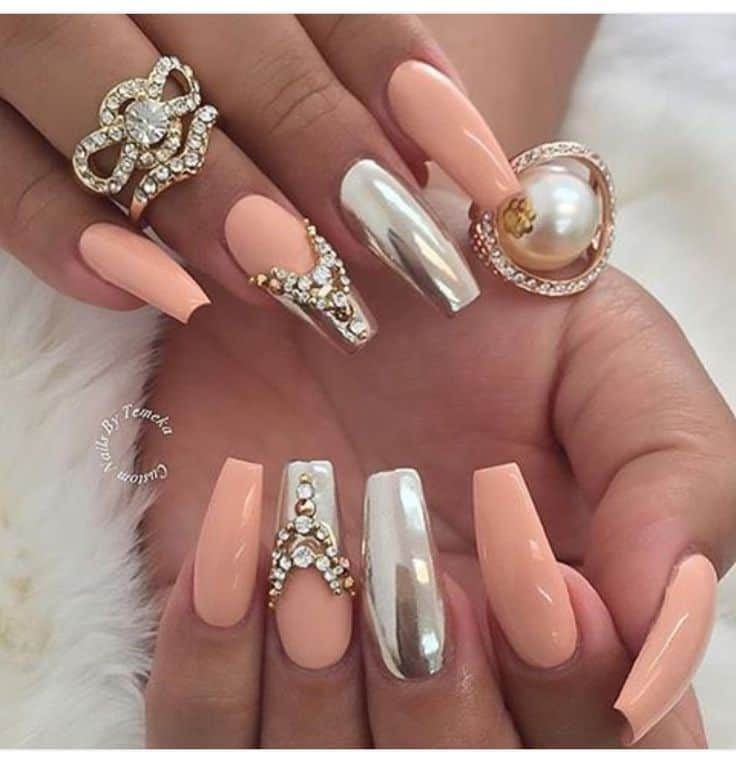 Ballerina prom nails with crystals