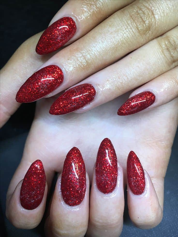 red acrylic prom nails