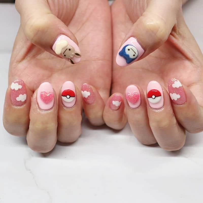 pokemon 3d nail art