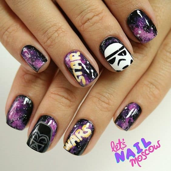 galaxy star wars nail art