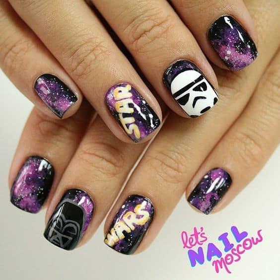 galaxy star wars nail art