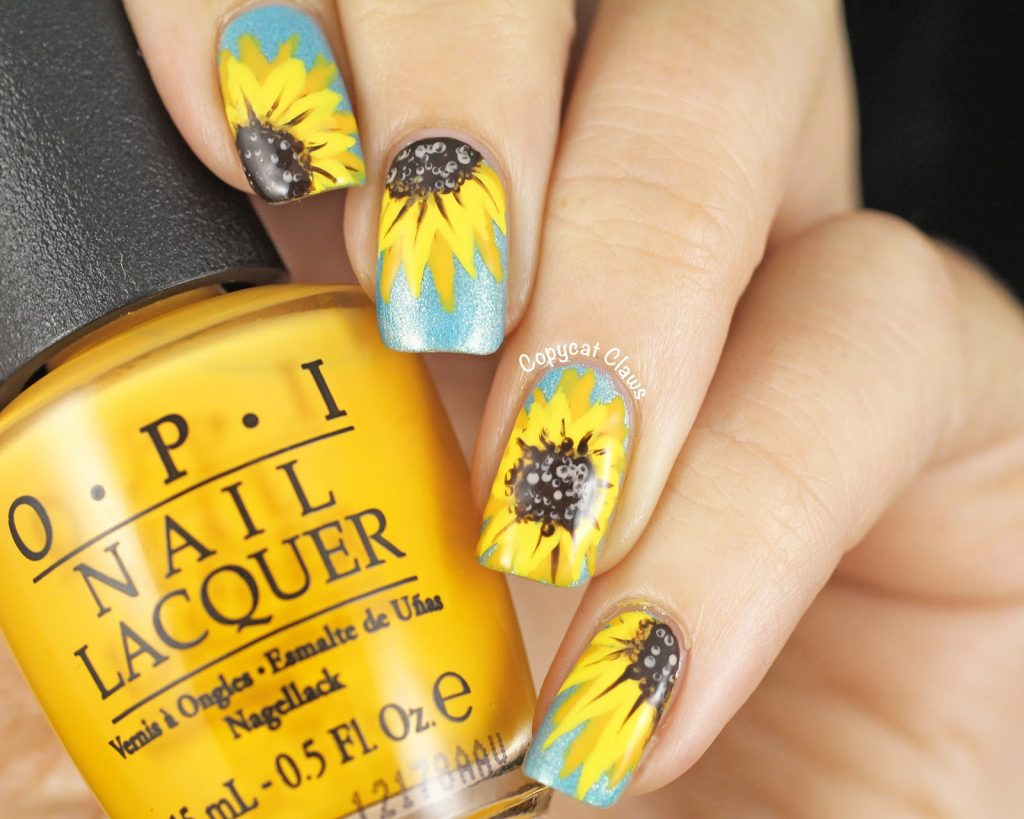 tiffany blue nail sunflower nail