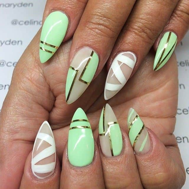 mint green nails for darker skintone