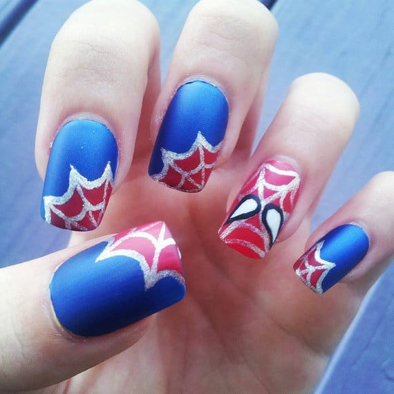 spiderman nail art