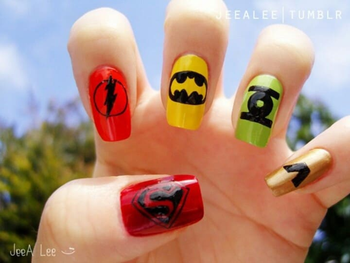 There are some popular superheroes in DC Comics publication. They can also  be considered as elements to be used in superhero nail art. - 20 Marvel & Superhero Nail Art To Indulge In Fantasy