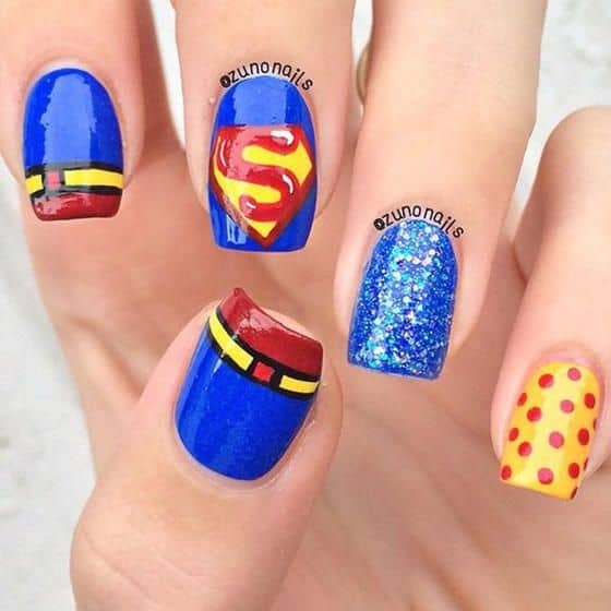 20 marvel superhero nail art to indulge in fantasy superman nail art prinsesfo Gallery