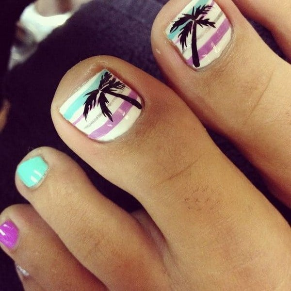 palm tree toe nail design