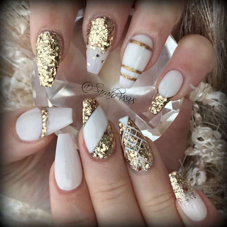 The Uses Of Gold Glitters Know No Bound In Nail Designs You Can Use To Increase Beauty Your White Coffin Nails