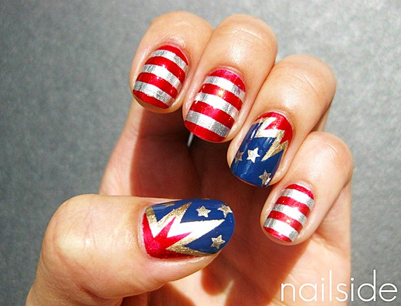 wonder woman nail art
