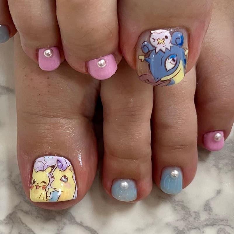 pikachu toe nails