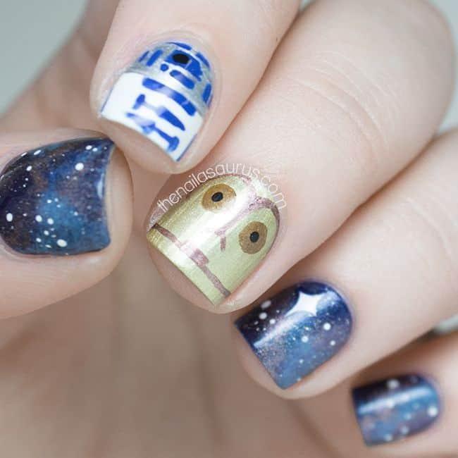 blue & gold star wars nail