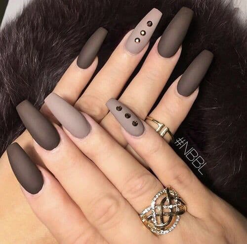 matte brown nail design