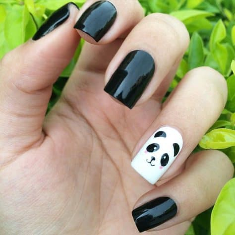 Draw The Image Of A Giant Panda On Left Out White Nail To Accentuate Whole Design