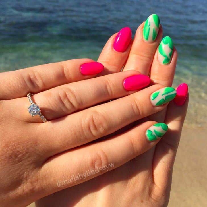 neon color vacation nail