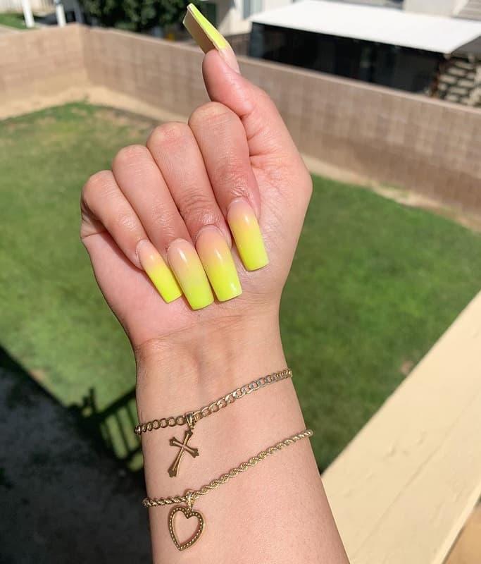 teens ombre long nails design