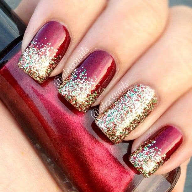 accentuate your gradient red nails with gold glitters to have this design apply ombre glitters on each of your red nails fill any of them up entirely with