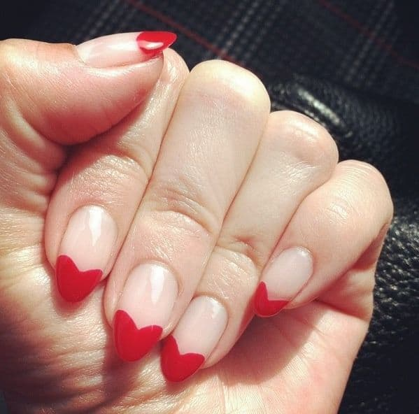 heart tip french nail design