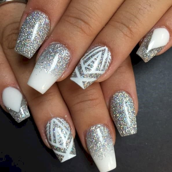 White Coffin Nails with Glitter