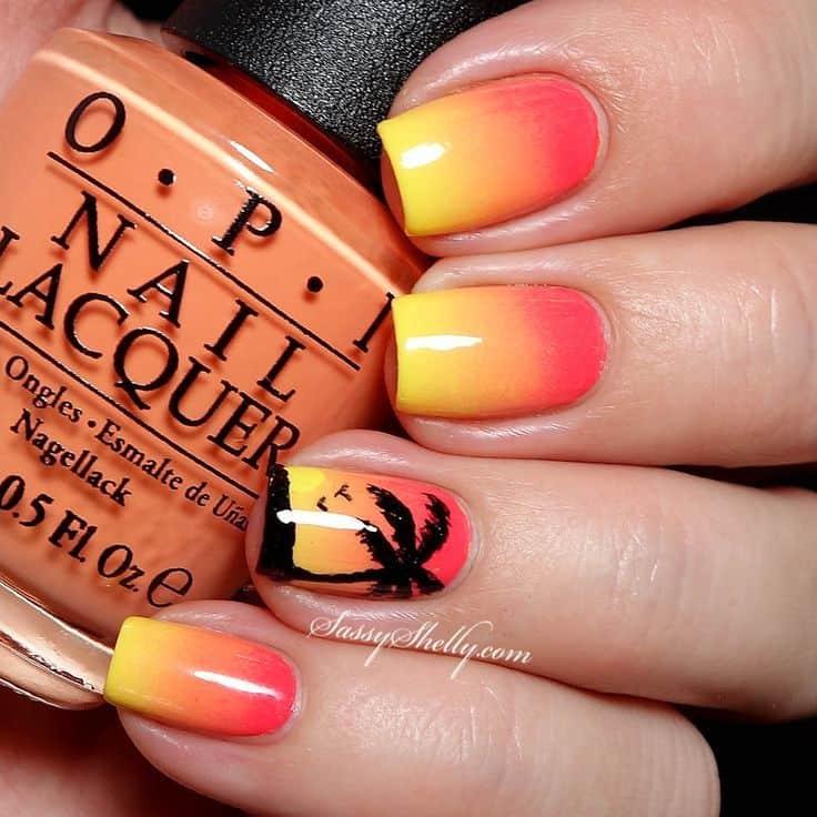 orange ombre nail design